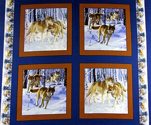 Wolf Pack Fabric Sold by The Pillow Panel