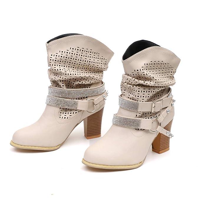 Zapatos Mujer Otoño Invierno ZARLLE Moda Ahueca hacia Fuera Botines Señoras Talón Mitad Boots Zapatos Botas de Plataforma Zapatos de tacón Zapatillas ...