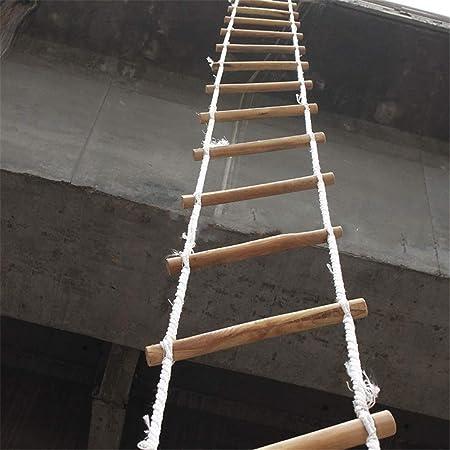 Escalera De Cuerda Blanda De Madera, Escalera De Seguridad De Escape, Respuesta De Seguridad En El Trabajo De Emergencia Auto Rescate Resistencia Antideslizante Escalera De Cuerda Para Escalar,20m: Amazon.es: Hogar