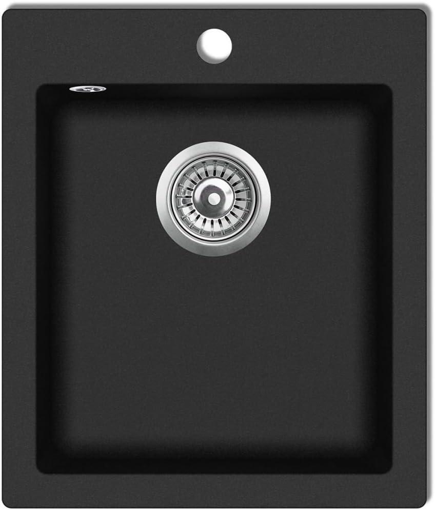 vidaXL Overmount Kitchen Sink Single Basin Granite Black Plumbing Fixture
