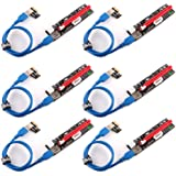 Ubit 6 Pack Latest PCI-E Riser Express Cable 16X to 1X (6pin / MOLEX/SATA) with Led Graphics Extension Ethereum ETH Mining Po
