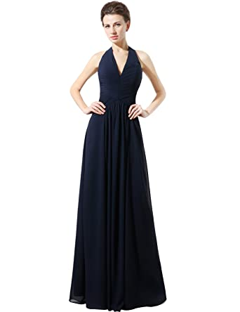 Clearbridal Womens Navy Blue Chiffon Bridesmaid Dress Halter Empire Waist Formal Long Prom Evening Gown SD322