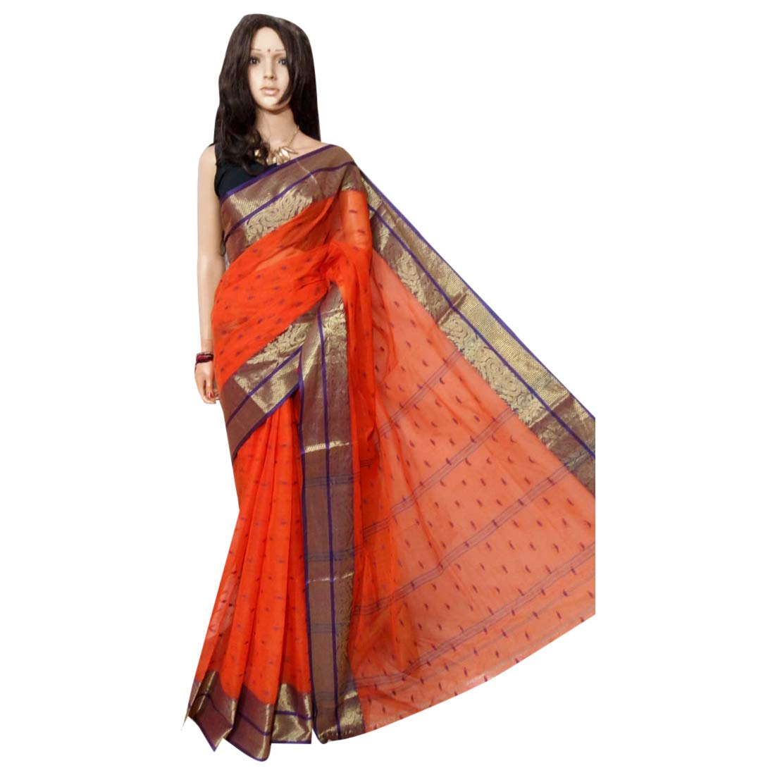 Indian Ethnic Handloom Zari work Zamdani Saree Party Women Wear Sari 101a