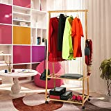 Homfa Bamboo Clothes Rack on Wheels Rolling Garment Rack with 2-Tier Storage Shelves and 4 Coat Hooks for Shoes, Clothing