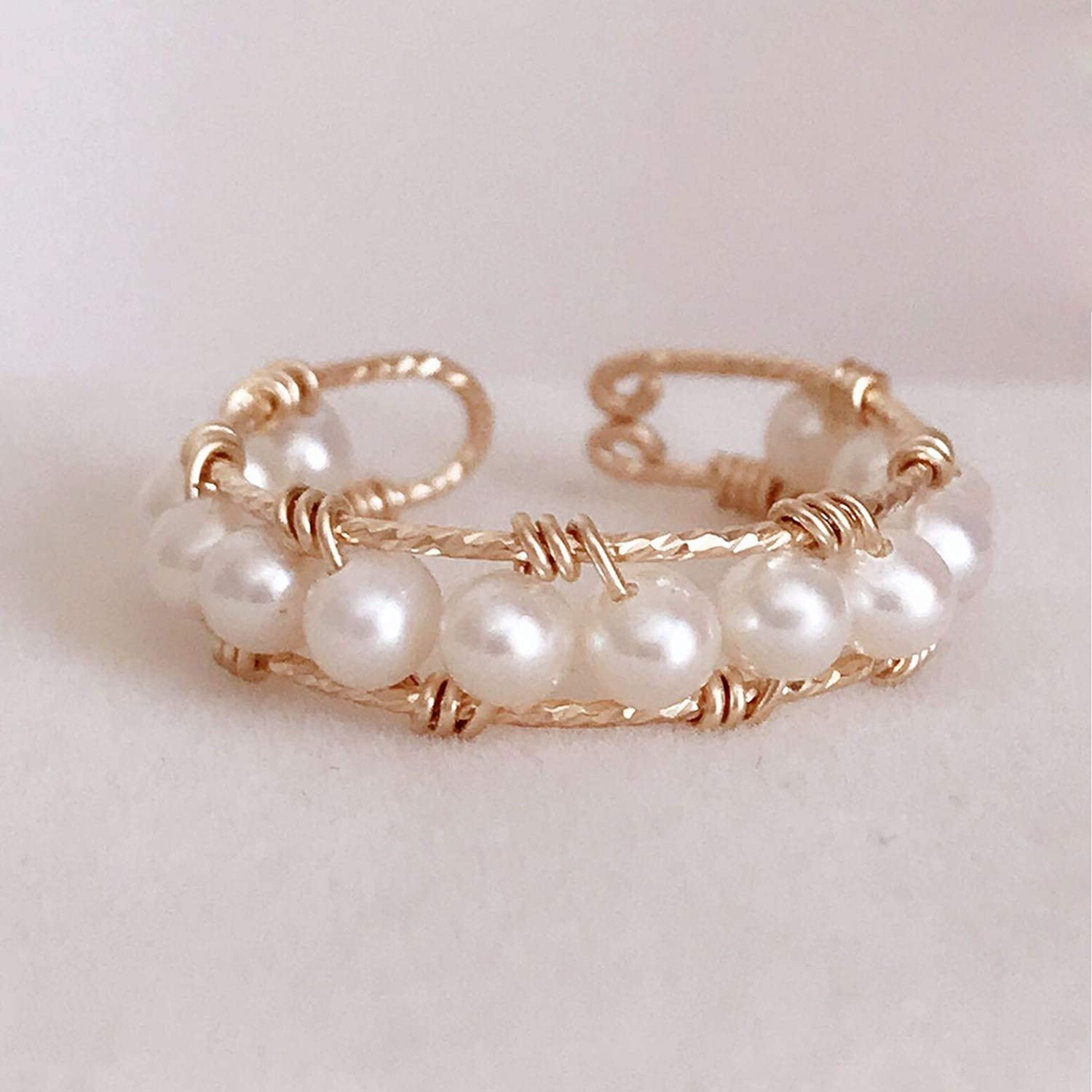 salmoph cadia Handmade Natural Pearls Knuckle Ring Gold Filled Personalized Rings Women,4,14K Gold Filling