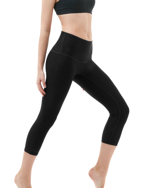 Tesla TM-FYC32-BLK_Large Yoga Pants High-Waist Tummy Control w Hidden Pocket FYC32