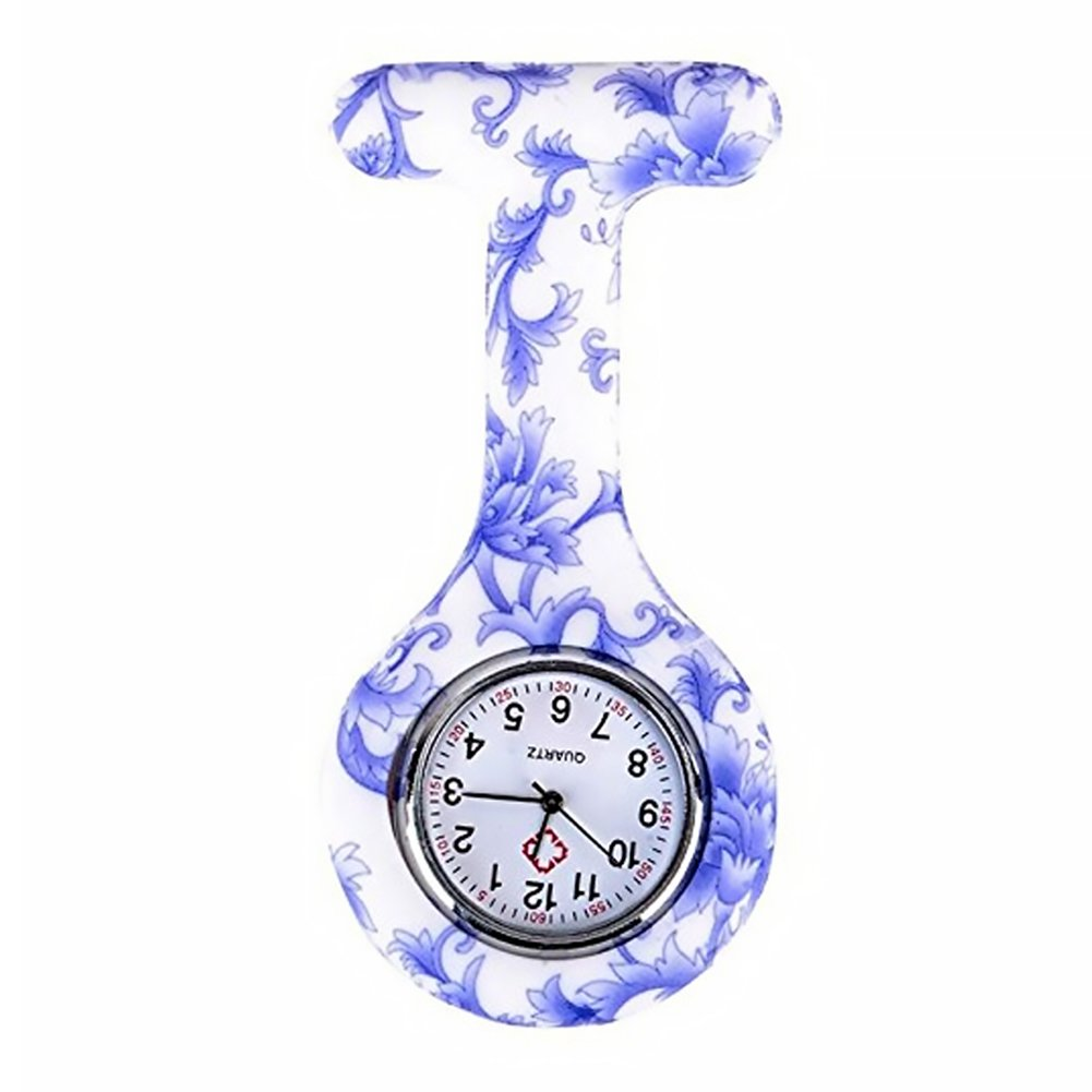 Naisicatar - Reloj de enfermera con broche FOB, para batas unisex de médicos y enfermeras, broche colgante de bolsillo con flores, reloj de bolsillo de ...