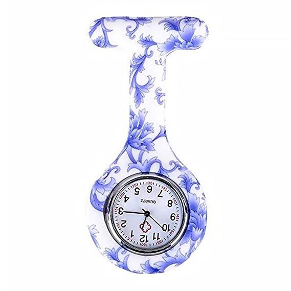 Naisicatar - Reloj de enfermera con broche FOB, para batas unisex de médicos y enfermeras, broche colgante ...