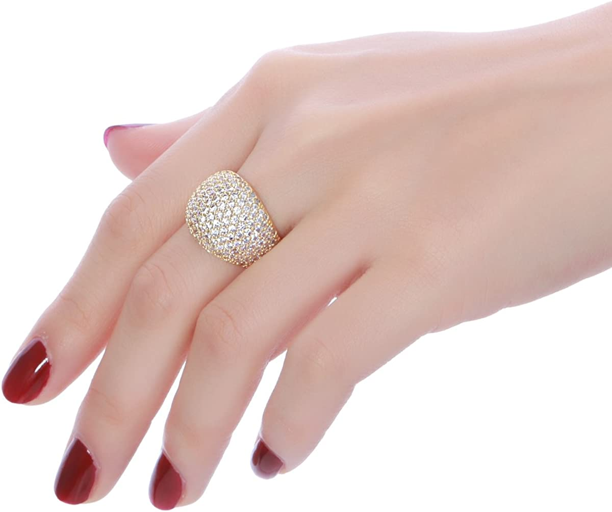 Diamond Accent Dome Ring Fine Polish Full Pave Cubic Zirconia Big Hollow Women Wedding Band Statement Ring 5-11