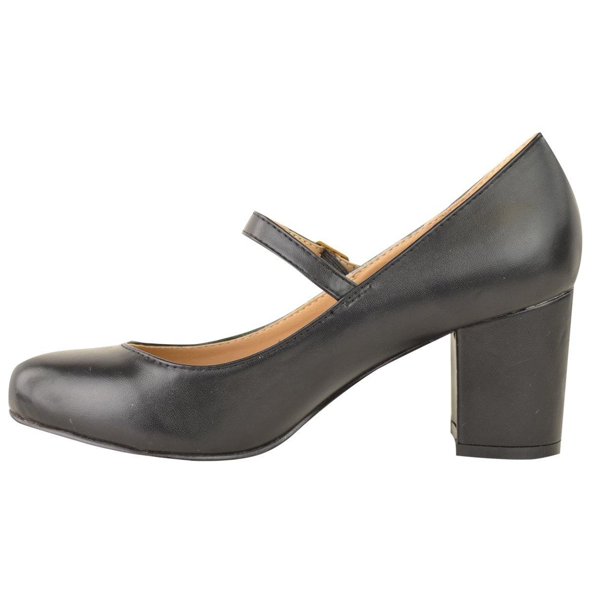 Damen Damen Mittlerer Blockabsatz Mary Jane Büro Arbeit Formelle Gurt-Dolly Schuh Größe - Schwarz Kunstleder, 38