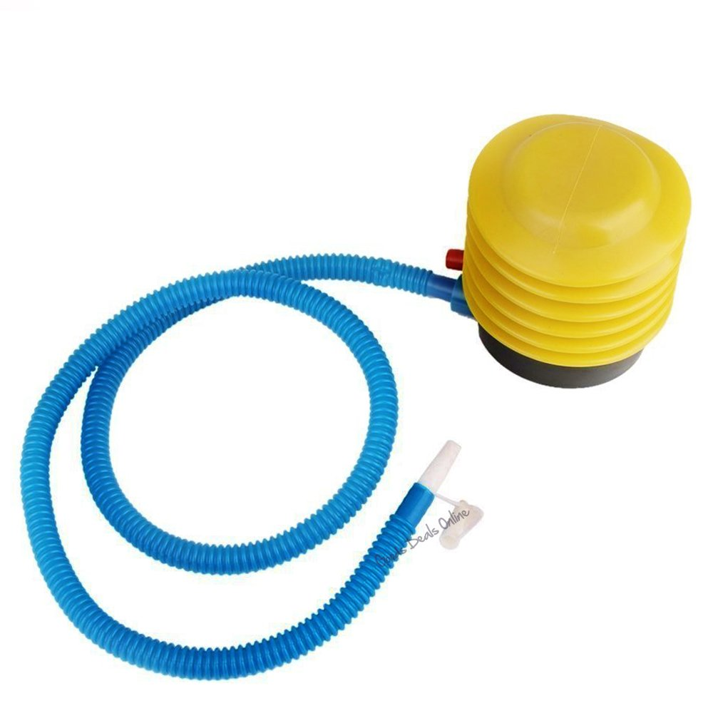 Yellow/Blue Foot Air Pump for Inflatable Beds, Kids Paddling Pool, Balloons, Swimming rings, Beach Ball - Hose length: 93cm, Pump Size : 96 x 102mm (3 Air Pumps) Pennys Party Shop ®