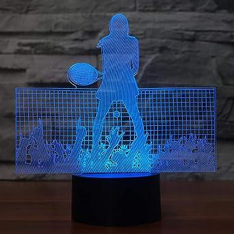 Tennis Player Model 3D Night Lights Usb 7 Colors 3D Led Table Lamp ...