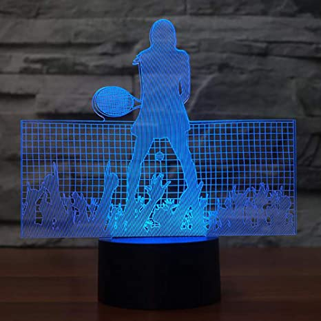 3D LED Tennis Player Lámpara de mesa USB Visual Luminaria ...