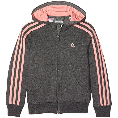 Full Zip 3 Stripes (adidas Performance Girls Essentials 3 Stripes Full Zip Hoodie - XS)