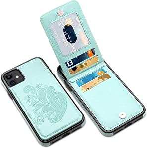 LakiBeibi for iPhone 12 Mini Case with Card Holder, Flower Series Slim PU Leather 12 Mini Wallet Case for Girls Full Body Protective Case with Screen Protector for iPhone 12 Mini 5.4 Inches, Mint