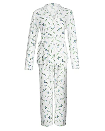 e296e6570b3f6 Suzicca Women s Plus Size Floral Print Wrap Front Kimono Long Sleeve Nights Pajamas  White Small
