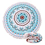 Genovega (23 Options Thick Round Beach Towel Blanket - Indian Boho Boho Mandala Large Microfiber Terry Beach Roundie Circle Picnic Carpet Yoga Mat With Tassel For Women Two,High Color fastness