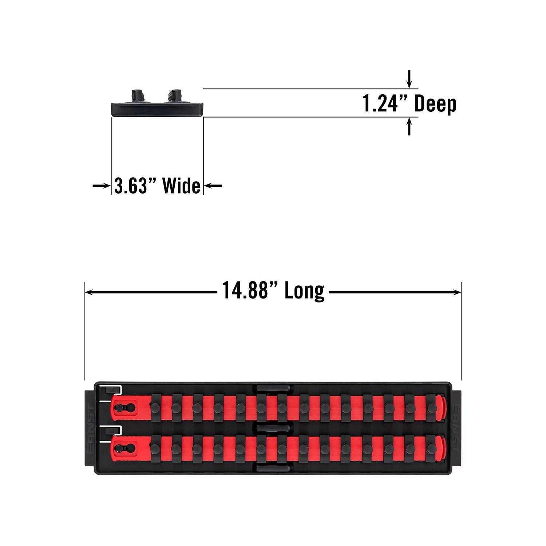 Ernst Manufacturing Socket Boss 2-Rail 1//4-Inch-Drive Socket Organizer Red 13-Inch