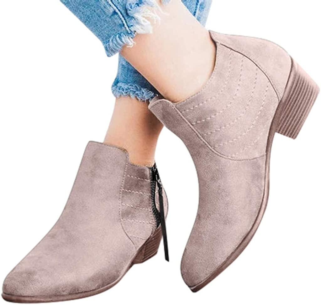 Eimvano Women Ankle Short Booties Retro Flock Leather Boots Comfy Closed Toe Midi Heel Western Slip On Shoes