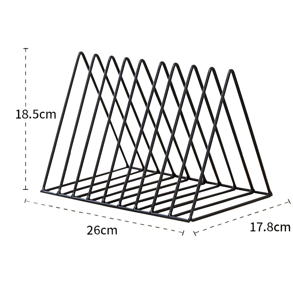 AIYoo Heavy Duty Metal Triangle Organizer Rack,9 Slot Newspaper Magazine Holder Document File Stand Journals Book Rack for Office Living Room Study Decorative Storage Rack
