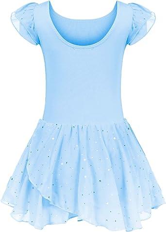 Vestido de Ballet para niña, de Manga Corta, de algodón, con Falda ...
