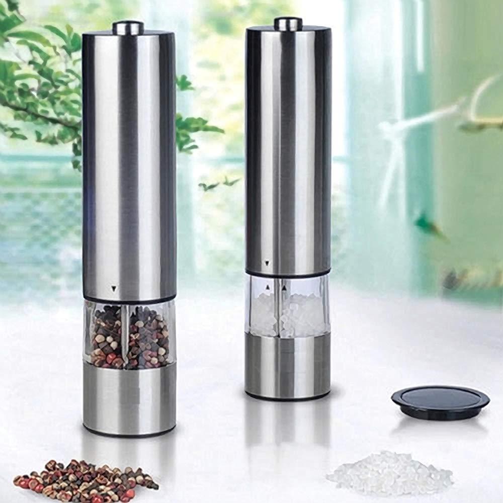 Calitek Stainless Steel Electronic Electric Salt /& Pepper Mill Grinder Set