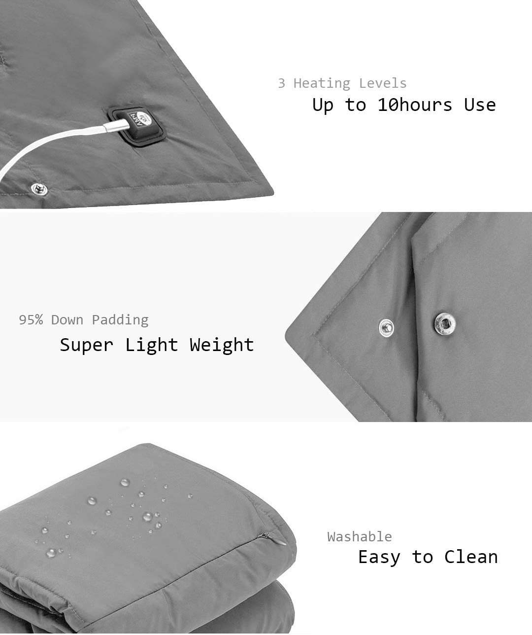 Battery Powered Heated Blanket Portable Super Fast Heating Electric Blanket For Outdoor Activity Body Warming Usb Heated Throw Blanket Travel Blanket Office Blanket Outdoor Blanket With Battery Bedding Blankets Throws