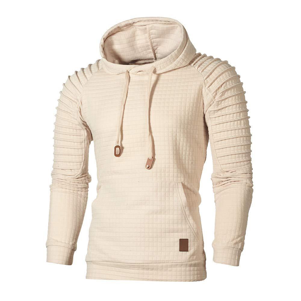 GREFER Men's Hooded Sweatshirt Autumn Long Sleeve Plaid Hoodie Top Tee Outwear Khaki by GREFER