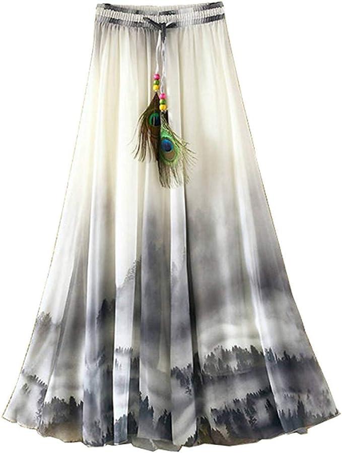 Señoras Casual Pintura China Real Boho Pavo Floral Playa De Ropa ...