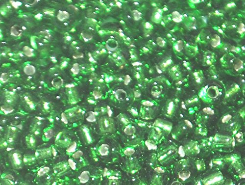 Markylis - 30g Glass Silver LIned Seed Jewellery Crafts Beads - 2mm - Green