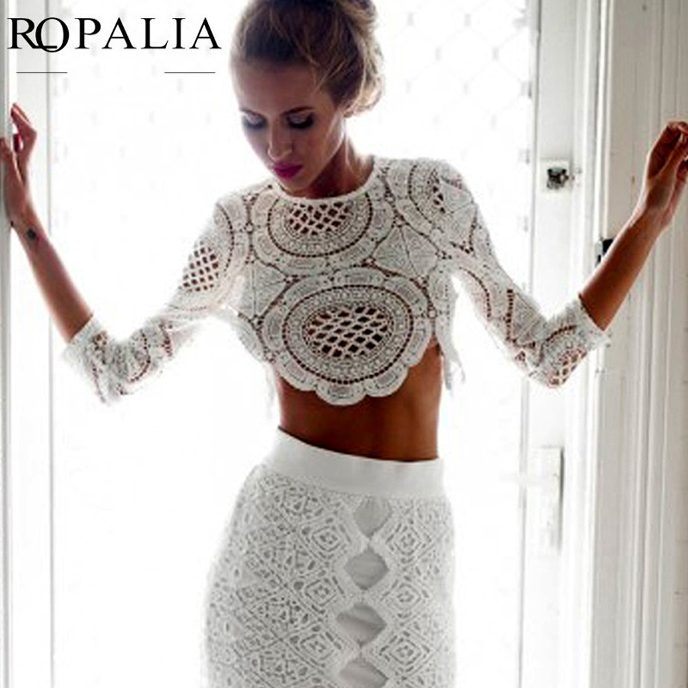 a381fbe4df072 Soly Tech ROPALIA Sexy Women Lace Hollow Crop Tops Long Sleeve Blouse Shirts  Zipper at Amazon Women s Clothing store