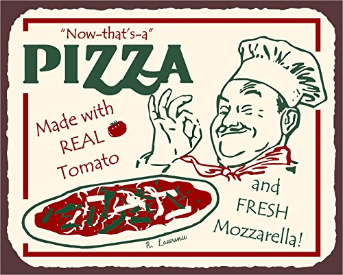 Pizza Chef Vintage Metal Art Italian Pizzeria Retro Tin Sign