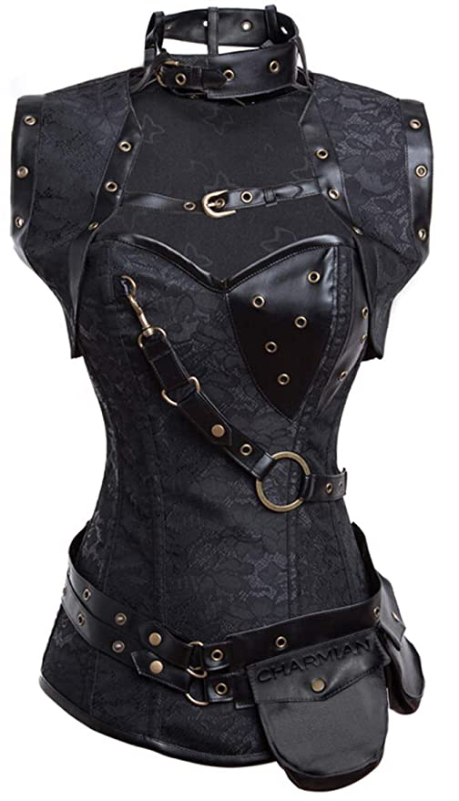 Steampunk Tops | Blouses, Shirts Charmian Womens Steampunk Spiral Steel Boned Vintage Retro Corset Tops Bustier $55.99 AT vintagedancer.com