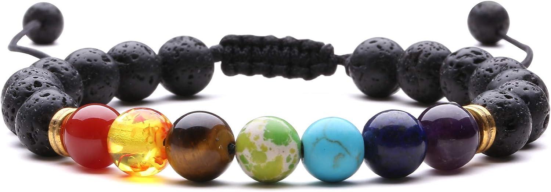 J.Fée Pulsera de Piedra Natural, curación Pulsera Elástica Pulsera de Piedras Preciosas Naturales para Mujer Pulsera de Cristal Yoga Natural Real