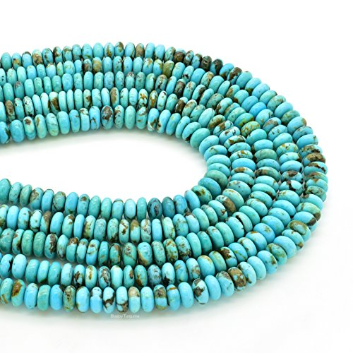 Bluejoy Genuine Natural American Turquoise 6mm Roundel Bead 16 inch Strand for Jewelry Making