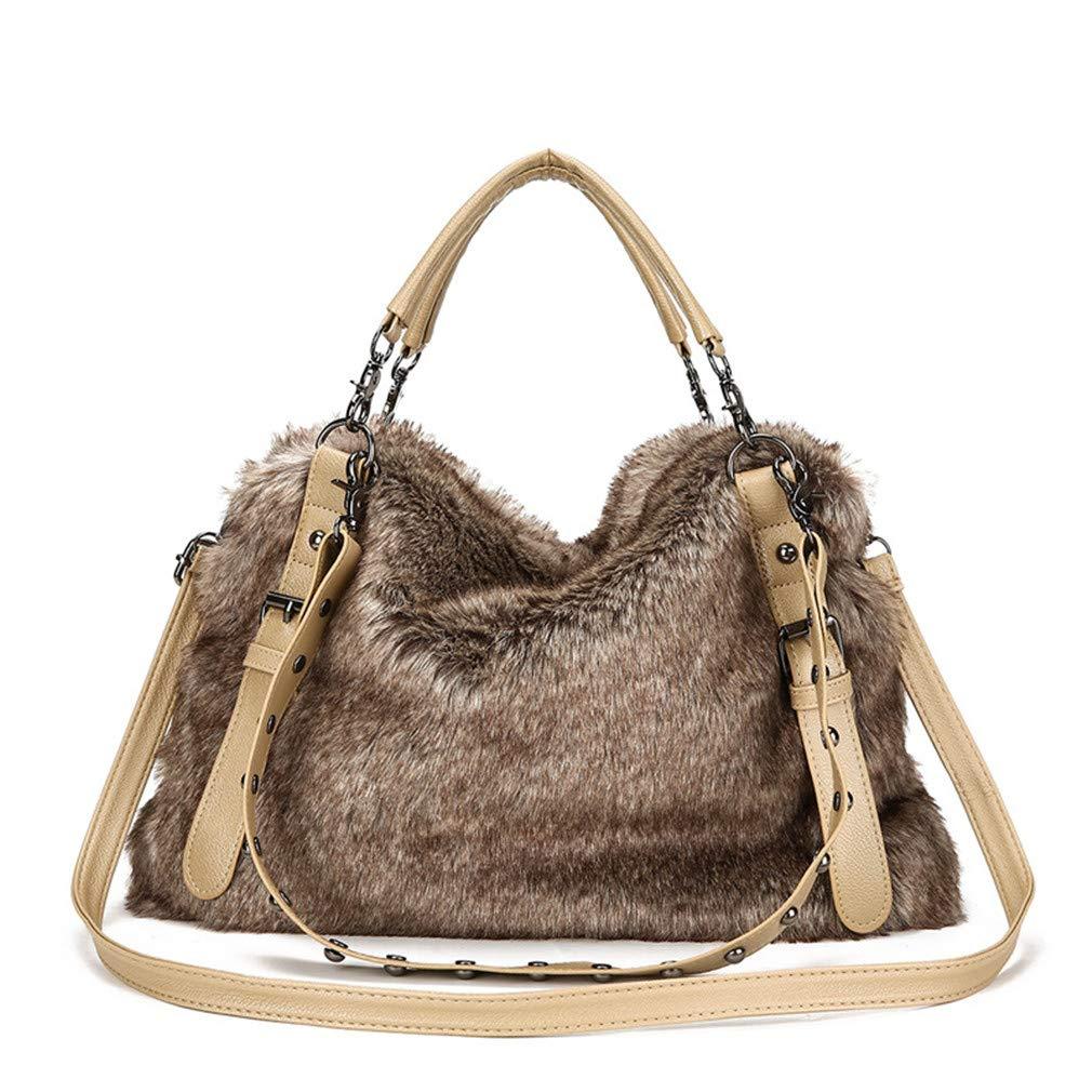 ef1631344c Amazon.com  Winter Faux Fur Handbags Big Women Shoulder Bag Crossbody Bags  Large Tote Purse and Handbag with Fur Khaki  Sports   Outdoors