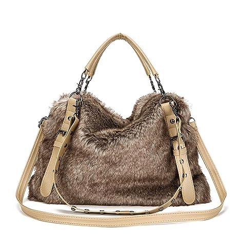 6dd58dcc92 Winter Faux Fur Handbags Big Women Shoulder Bag Crossbody Bags Large Tote  Purse and Handbag with