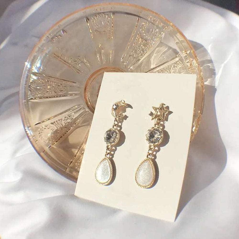Erin Earring Pendientes Largos Asimétricos De Media Luna De Cristal con Colgante De Piedra Semipreciosa