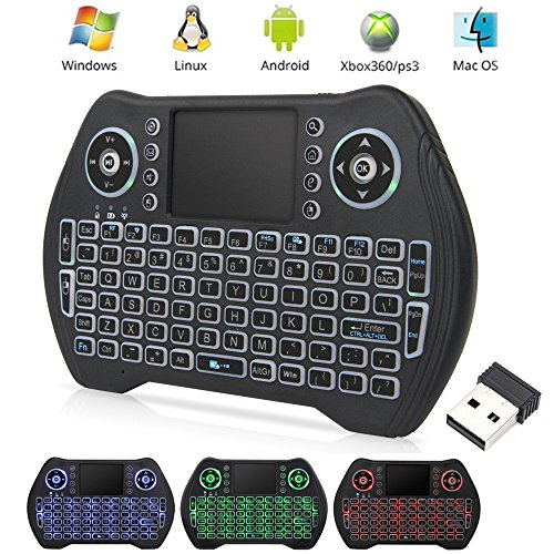 EASYTONE Backlit Mini Wireless Keyboard With Touchpad Mouse Combo and Multimedia Keys for Android TV Box HTPC PS3 XBOX360 Smart Phone Tablet Mac Linux Windows OS,New Model Mini Keyboard Touchpad Mouse (Android Tv Tablet)