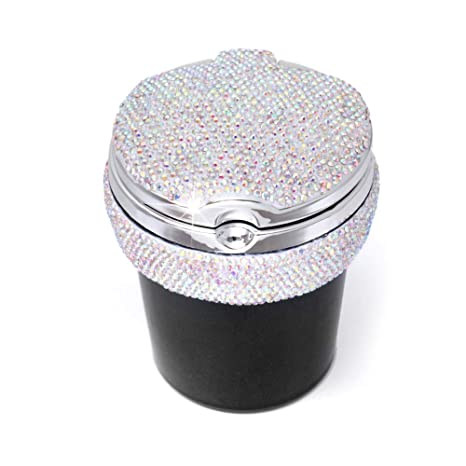Bling Crystal Diamond Portable Smokeless Stand Cylinder Cup Holder with Cool Blue Led Light Indicator Carrfan Car Ashtray Red