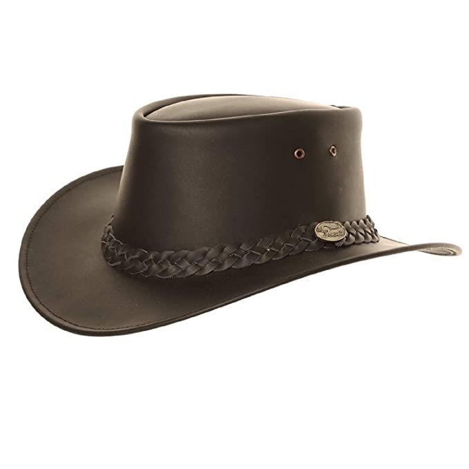 S M L XL Black or Brown Hawkins Headwear Australian Style 100/% Genuine Leather Cowboy Bush Hat