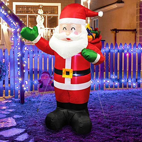 MerryXGift Christmas Inflatable Santa Claus 6ft, Xmas Airblown Inflatable Santa Blow up Decorations with Gift Bags for Yard Outdoor Garden Lawn