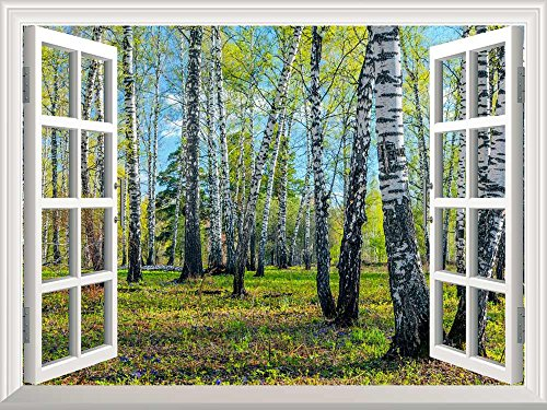 Removable Wall Sticker Wall Mural Spring Forest Creative Window View Wall Decor