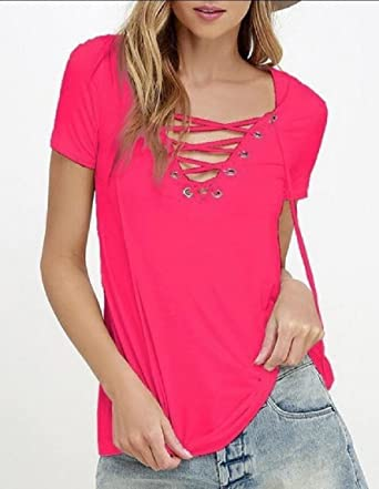 0732030b73d WSPLYSPJY Women's Casual Summer Sexy V Neck Lace up Short Sleeve Solid T  Shirt Tee Tops