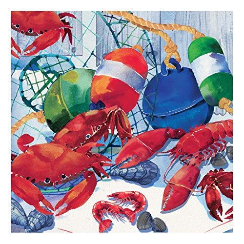 Creative Converting 652325 16 Count Paper Beverage Napkins, Seafood Celebration