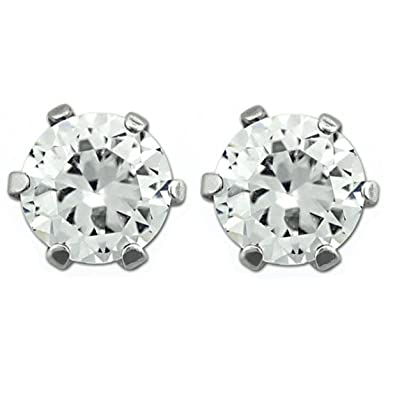 stainless steel magnetic stud earrings 6mm clear cz