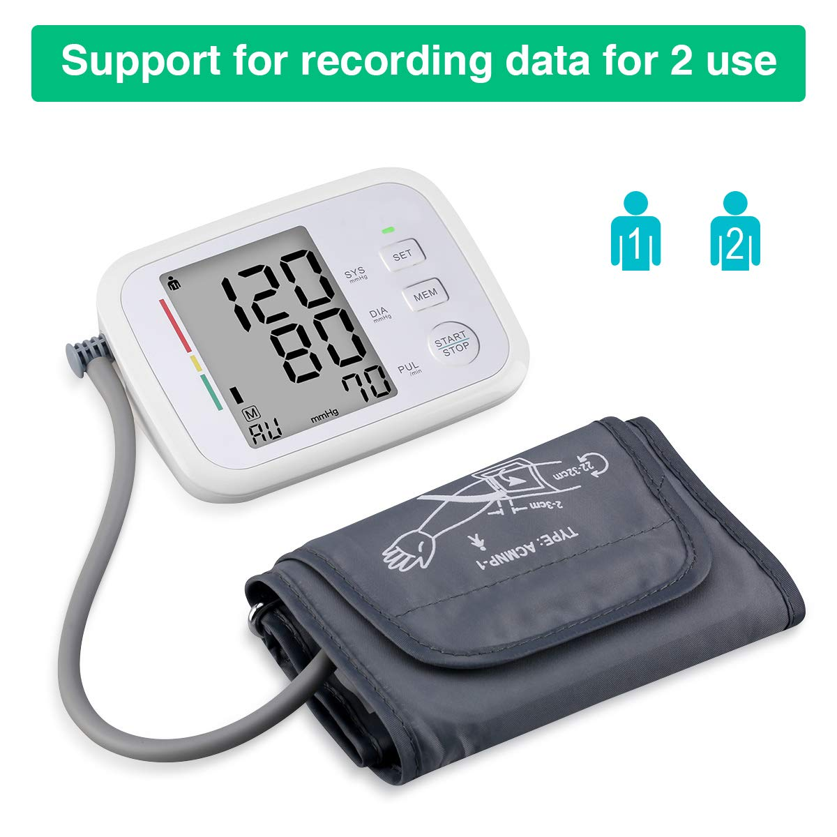 Prymax Blood Pressure Monitor Upper Arm Large Cuff Fits Arms 8.5-17 Inches Portable Automatic Digital Monitor, FDA Approved, at Home, Irregular Heart Beat Detection, Large Screen, 2 User*90 Reading by PRYMAX (Image #5)