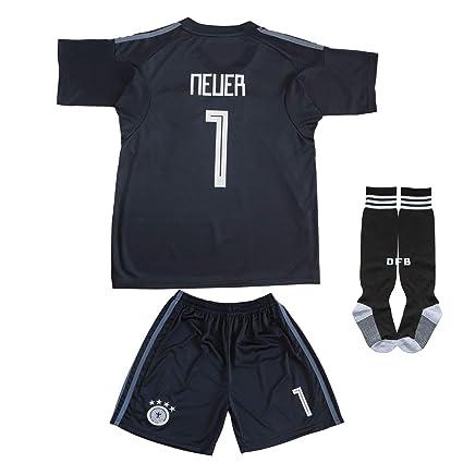 07e87c351f9 KID BOX Germany Neuer #1 Goalie Football Soccer Kids Goalkeeper Jersey  Short Socks Set Youth