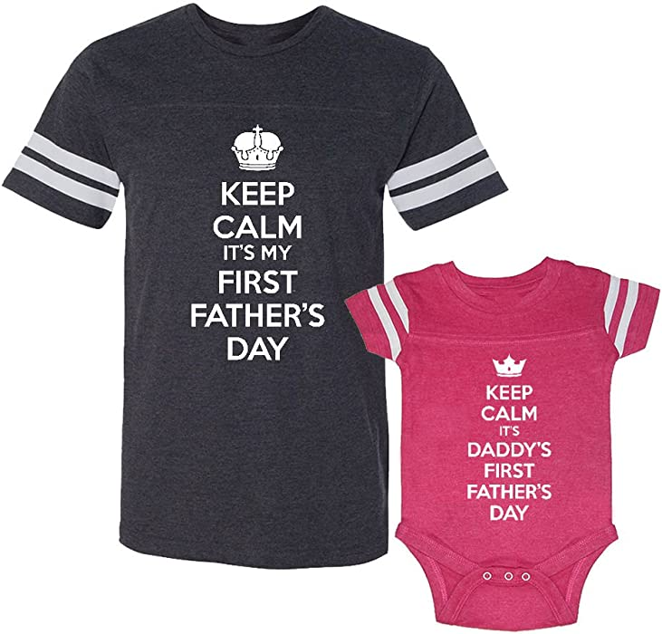 8ad45469 We Match! Keep Calm It's My First Father's Day & Daddy's First Father's Day  Matching Adult Football T-Shirt & Baby Bodysuit Set (12M Bodysuit, ...