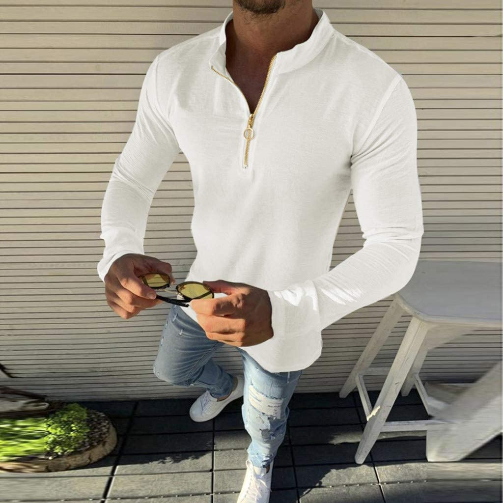 KASAAS Henley Shirts for Men Vintage Half Button Up Tops Solid Long Sleeve Round Neck Casual Fashion Pullover T-Shirts